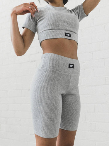 INHALE CROPPED TEE - LIGHT GREY MARLE TOP from EXIE curated by pu·rist