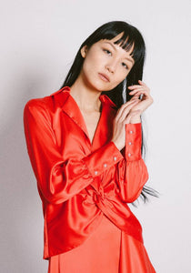 Front Twist Satin blouse-top-DONNA ZHONG-XS-Red-pu·rist