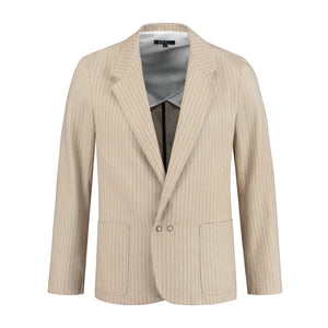 Blazer jacket 'Slack' beige linen pinstripe blazers from EVA D. curated by pu·rist