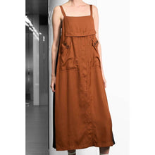 Load image into Gallery viewer, Premium Pleating Slip Dress-Dress-Charlotte Ng Studio-S-Orange/Black-pu·rist