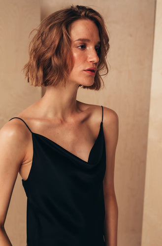 Silk Camisole Top with Draped Detail | Black blouses from MIONÈ curated by pu·rist