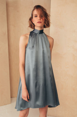 Short Silk Dress with High Neck | Grey Dresses from MIONÈ curated by pu·rist