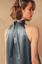 Load image into Gallery viewer, Short Silk Dress with High Neck | Grey Dresses from MIONÈ curated by pu·rist