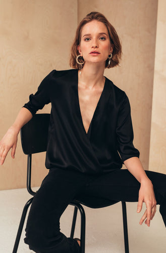 Silk Wrap Blouse | Black blouses from MIONÈ curated by pu·rist