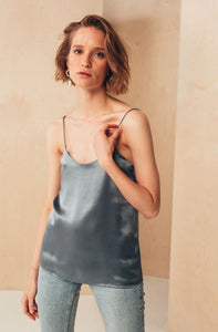 Silk Camisole Top | Grey blouses from MIONÈ curated by pu·rist