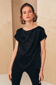 Silk Boat Neckline Blouse | Black blouses from MIONÈ curated by pu·rist