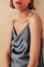 Load image into Gallery viewer, Silk Camisole Top with Draped Detail | Grey blouses from MIONÈ curated by pu·rist