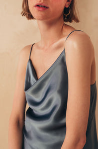 Silk Camisole Top with Draped Detail | Grey blouses from MIONÈ curated by pu·rist