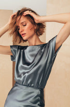 Load image into Gallery viewer, Silk Boat Neckline Blouse | Grey blouses from MIONÈ curated by pu·rist