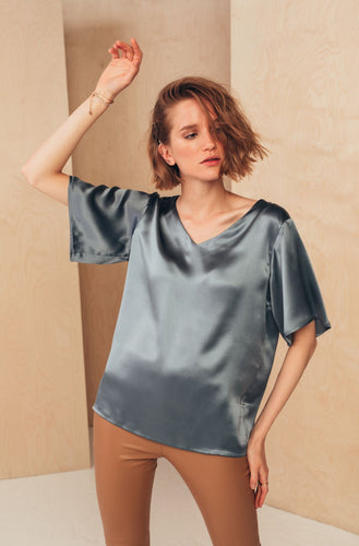 Silk V-Neck Blouse | Grey blouses from MIONÈ curated by pu·rist