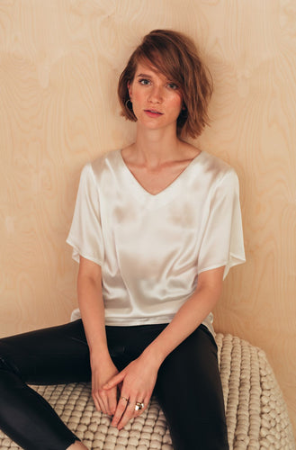 Silk V-Neck Blouse | Ecru blouses from MIONÈ curated by pu·rist