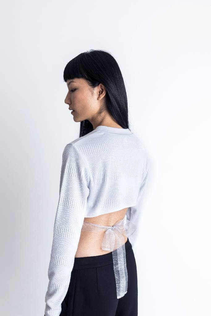 Back Cut-out Jacquard Top-top-DONNA ZHONG-S-Grey-pu·rist