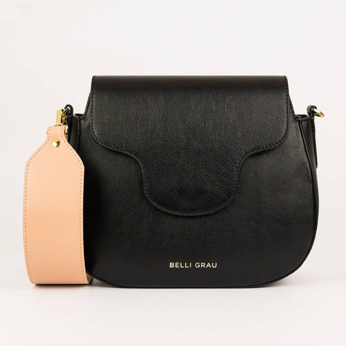 Elena Handmade Black & Pink-Leather Handbag-Belli Grau-pu·rist