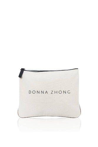 Canvas-Leather Pouch-handbags-DONNA ZHONG-Ivory/Black-ONE-pu·rist