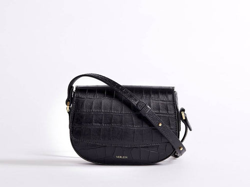 Ana Croc Mini Crossbody, Matte Black Handbags from Verlein curated by pu·rist