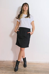 Skirt Nena with elastic waist of black cotton
