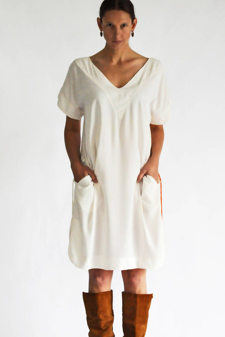 Kaftan Dress Of White Airy Viscose