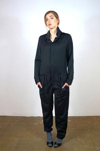 Jumpsuit 'Steyr' of grey wool jumpsuits from EVA D. curated by pu·rist