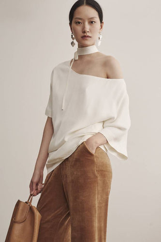 One Side Off Shoulder Dress-dress-DONNA ZHONG-XS/S-Ivory-pu·rist