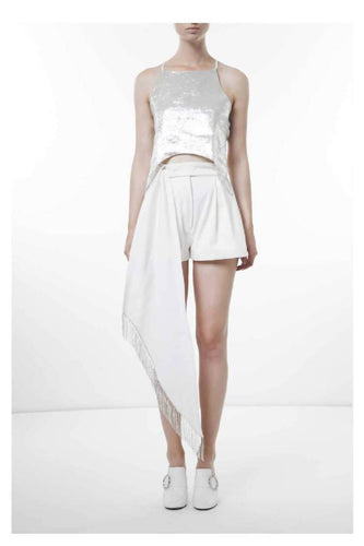 Cotton denim shorts with precious application-shorts-pu·rist-IT 40 - S-White-pu·rist
