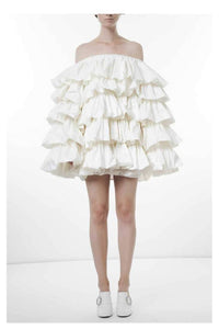 Silk taffeta flounces mini dress-Dresses-pu·rist-One Size-White-pu·rist