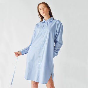 Shirt 'Axl' in blue cotton with asymmetrical draw string