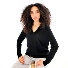 Load image into Gallery viewer, Mathilda Black Cashmere V-neck Sweater in fine knit 100% cashmere v-neck jumper from asneh curated by pu·rist
