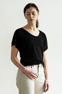 Basic top 'Amy' with dolman sleeves of black viscose
