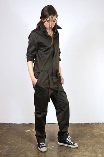 Jumpsuit 'Steyr' of green cotton