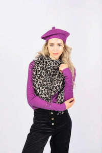 Kitty large leopard print cashmere scarf in Grey Scarf from asneh curated by pu·rist