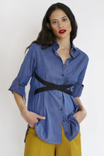 Load image into Gallery viewer, Strap Shirt | Melange Blue Shirts from JETTI curated by pu·rist