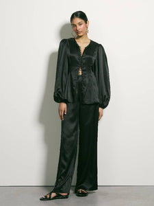 Lay Low Silk Blouse - Black | PRE ORDER