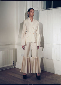 WOOL AND CASHMERE BLEND CREAM SUIT | PREORDER-JACKETS-MAISON BENT-pu·rist