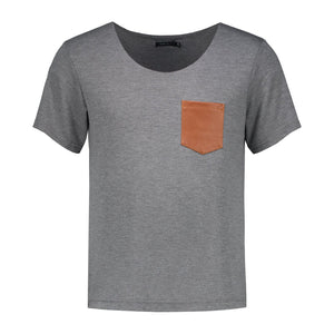 T-Shirt with leather pocket | Grey T shirts from EVA D. curated by pu·rist
