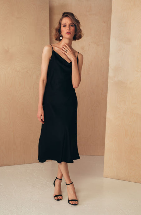 BACK TO ALL Midi Silk Slip Dress | Black Dresses from MIONÈ curated by pu·rist