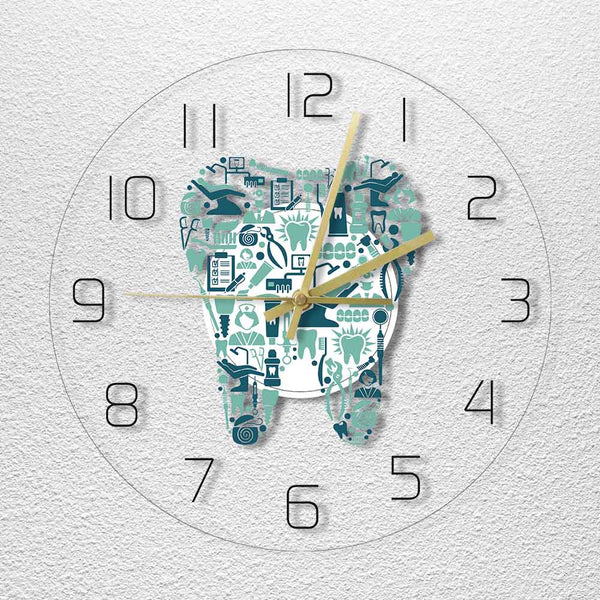 Dental Care Symbols Acrylic Hanging Wall Clock - Dental Desire.com