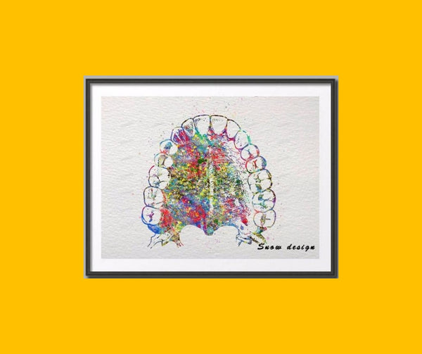 Original watercolor Hard Palate Teeth canvas Wall art poster - Dental Desire.com