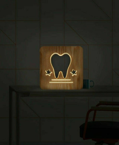 Wooden LED hollow tooth design warm light lamp