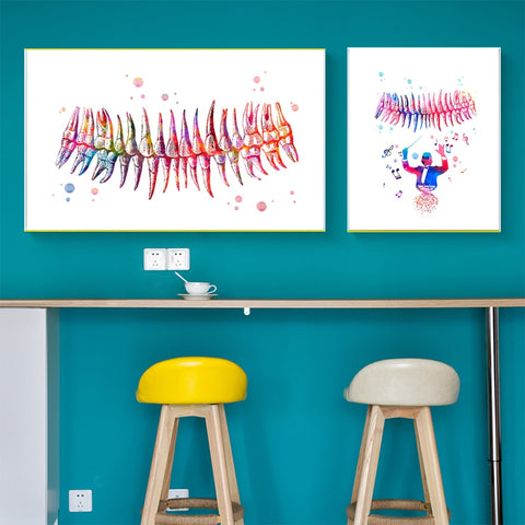 Musical Teeth Watercolor Print Dental Art Poster For Clinic Wall Decor - Dental Desire.com