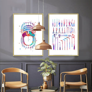 Colorful Teeth Painting / Surgical Instrument Canvas Painting  For Education Office Decor - Dental Desire.com