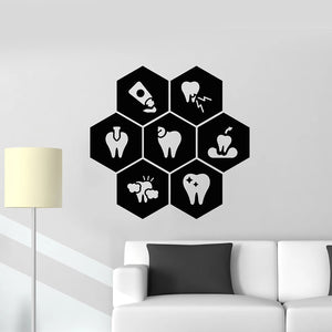 Honeycomb Healthy Dental Care Interior Vinyl Stickers - Dental Desire.com