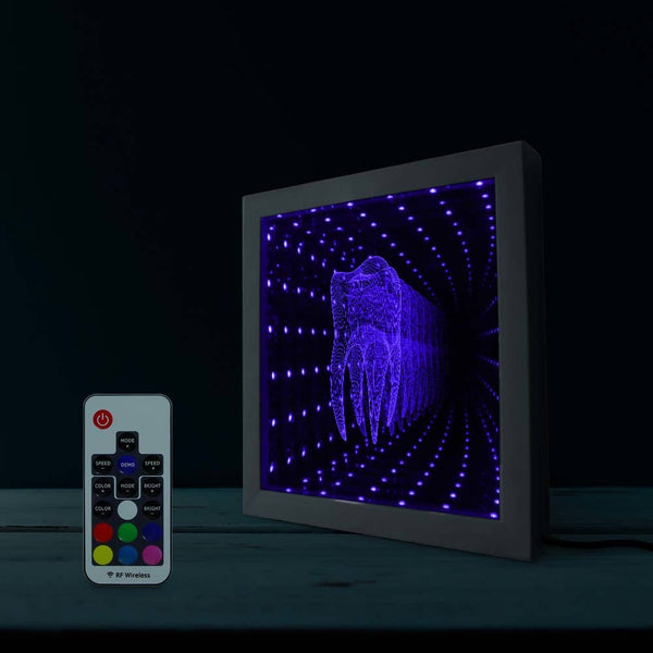 Tooth Shape LED Infinity Mirror With Wood Frame - Dental Desire.com