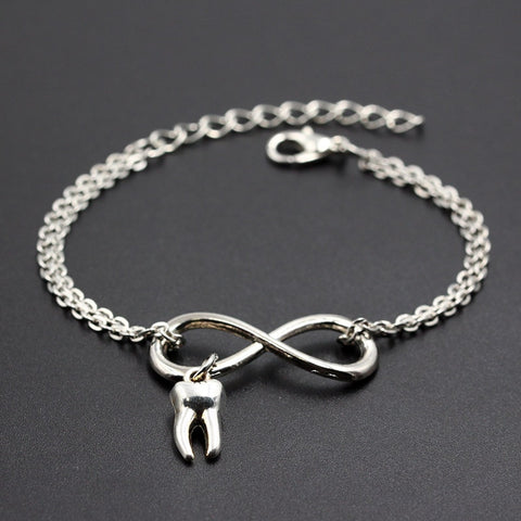 Cute Tooth Charms Link Chain Infinity Bracelets