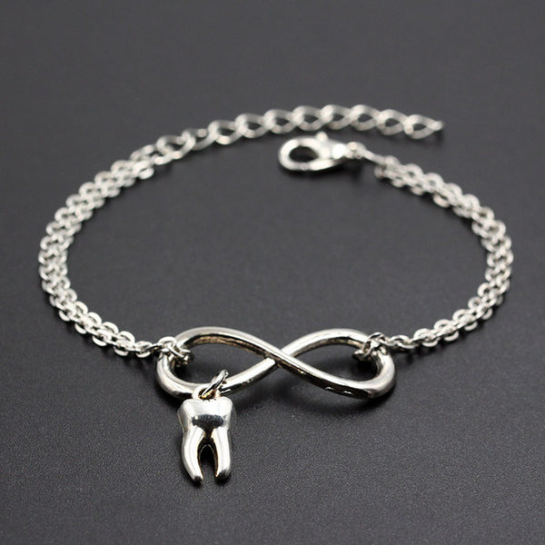 Cute Tooth Charms Link Chain Infinity Bracelets - Dental Desire.com