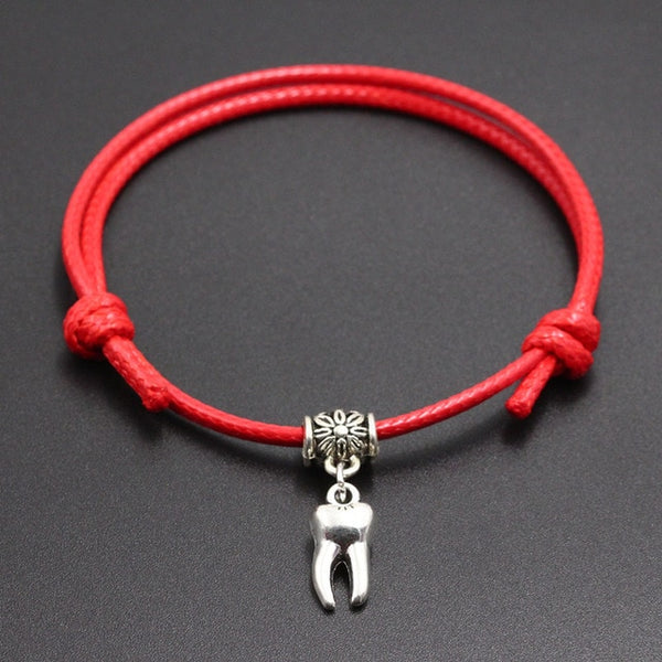 Red Thread String With Tooth Pendant Bracelet Jewelry - Dental Desire.com