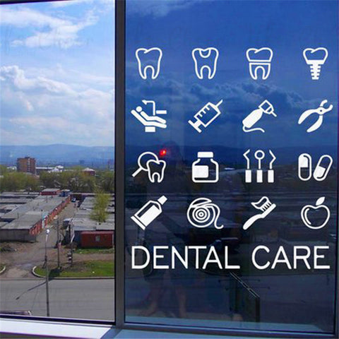 Dental Care Tools Set Vinyl Wall/Window Sticker - Dental Desire.com