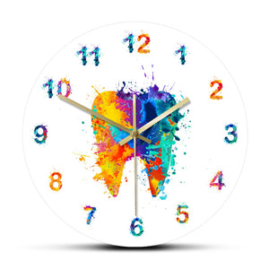 Watercolour Tooth Print Wall Clock - Dental Desire.com