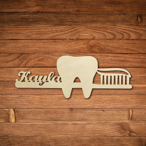 Personalized Wooden Dental Custom Laser Cut Tooth Logo Business Signboard For Dental Clinic - Dental Desire.com