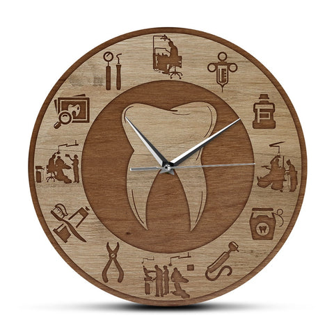 Dental Design Wood Texture Acrylic Print Wall Clock - Dental Desire.com