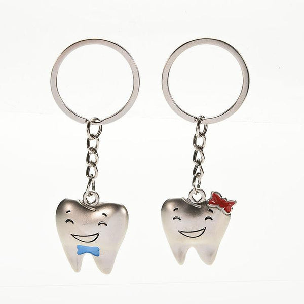 Tooth Shaped Dental Key Chain Dental Couple Gift 1 Pair - Dental Desire.com
